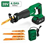 Cordless Reciprocating Saw – 20V 4.0Ah Compact Saw w/Li-Ion Battery&Charger, 4 Saw...