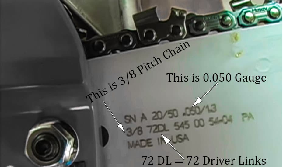 What do the numbers mean on chainsaw chains​